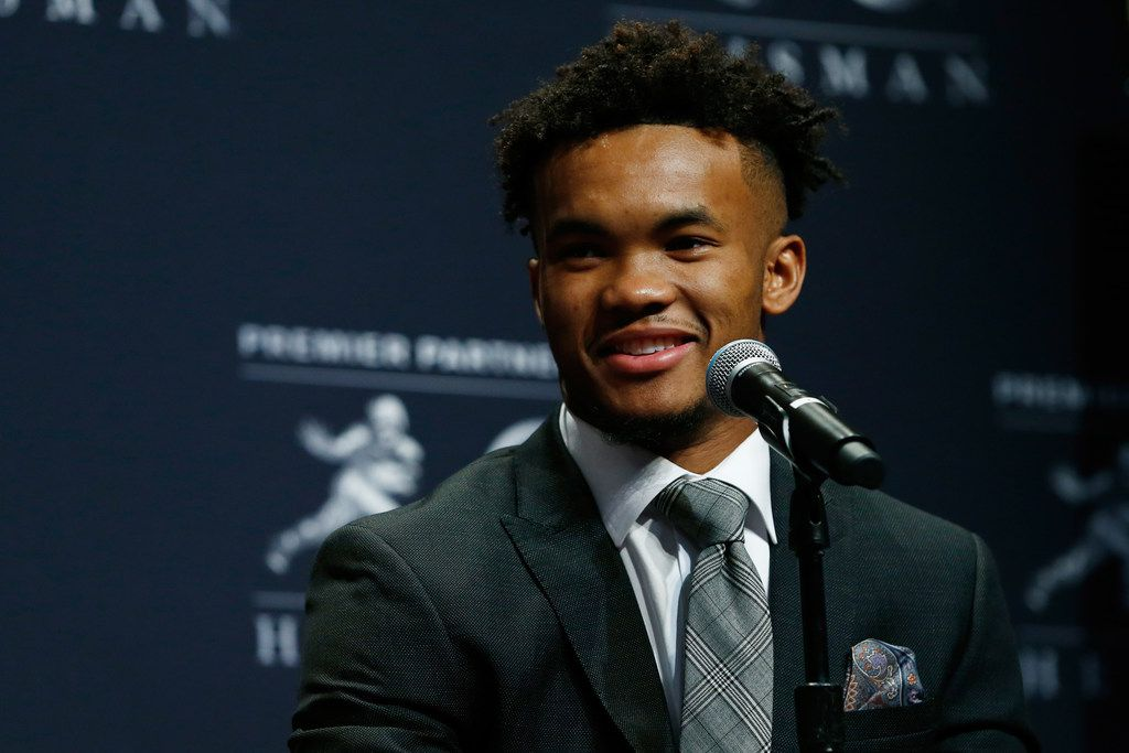 NEW YORK, NY - DECEMBER 08:  Kyler Murray of Oklahoma speaks at the press conference for the 2018 Heisman Trophy Presentationon December 8, 2018 in New York City.  (Photo by Mike Stobe/Getty Images)