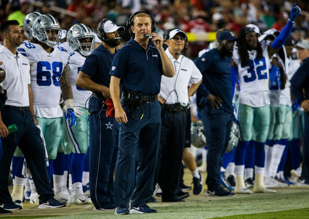 Dallas Cowboys head coach Jason Garrett watches from the sideline during the fourth quarter of an NFL preseason game between the Dallas Cowboys and the San Francisco 49ers on Saturday, August 10, 2019 at Levi's Stadium in Santa Clara, California. (Ashley Landis/The Dallas Morning News)
