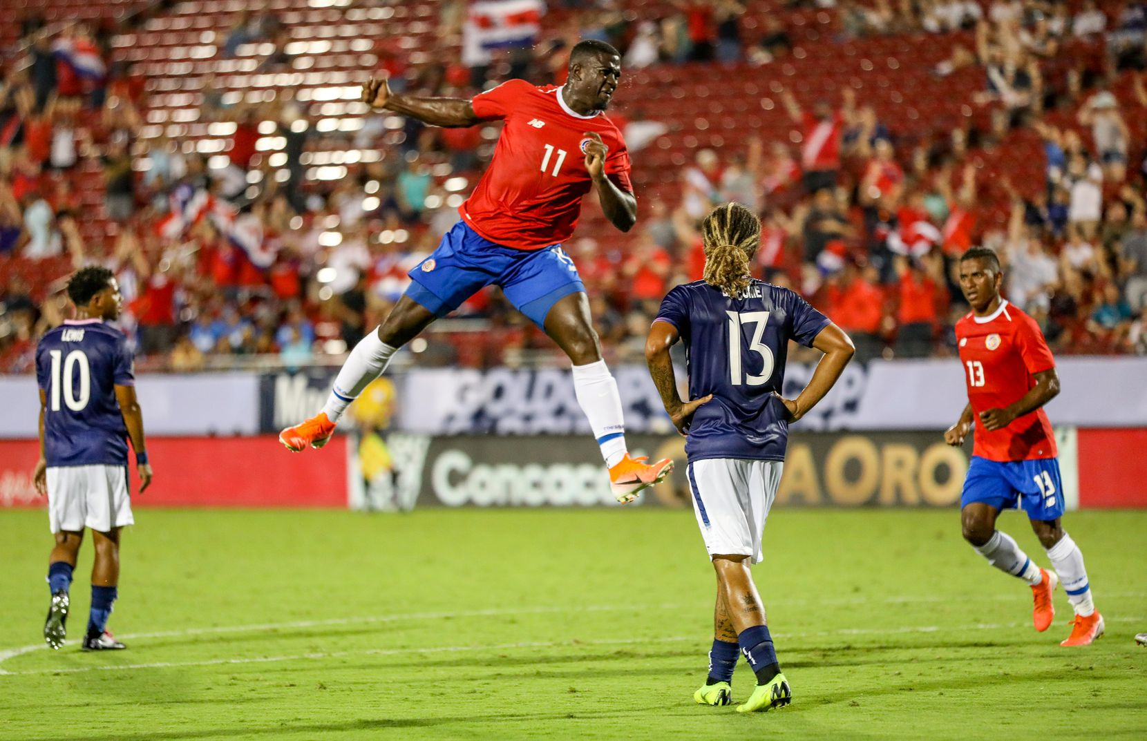 Costa Rica's #11 Mayron George celebrates his goal against Bermuda in the 2019 Gold Cup at Toyota Stadium. (6-20-19)