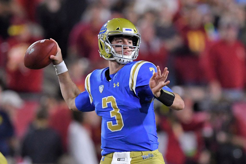 FILE - In this Saturday, Nov. 18, 2017 file photo, UCLA quarterback Josh Rosen passes during the first half of an NCAA college football game against Southern California in Los Angeles. (AP Photo/Mark J. Terrill, File)