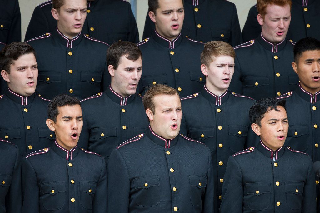 The Texas A& M Singing Cadets perform during a 75th Anniversary of Pearl Harbor commemoration at the George Bush Presidential Library on Wednesday, Dec. 7, 2016, in College Station, Texas. (Smiley N. Pool/The Dallas Morning News)