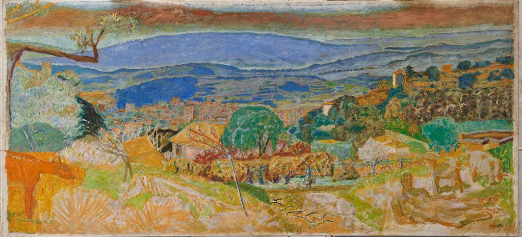 Pierre Bonnard, Landscape at Le Cannet, 1928, oil on canvas, 50 3/8 x 109   in. (128 x 278.2 cm). The painting has been added to the permanent collection of the Kimbell Art Museum in Fort Worth