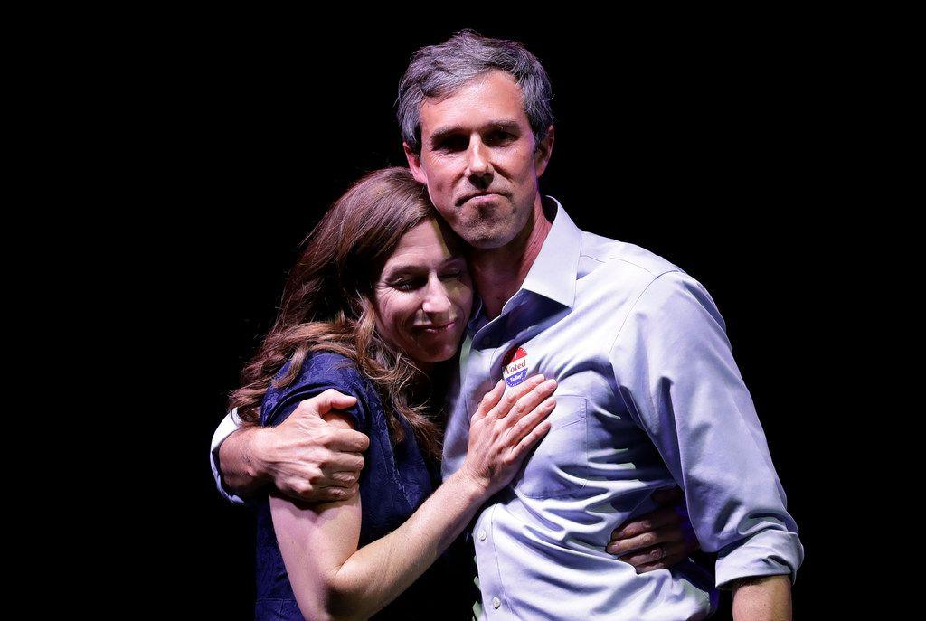 Rep. Beto O'Rourke hugs his wife, Amy Sanders, after his defeat by Sen. Ted Cruz on  Nov. 6, 2018, in El Paso.