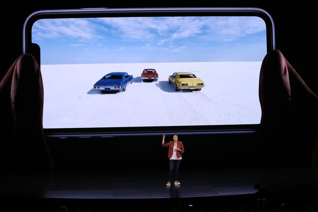 Apple's Kaiann Drance talks about the new iPhone 11 during a special event.