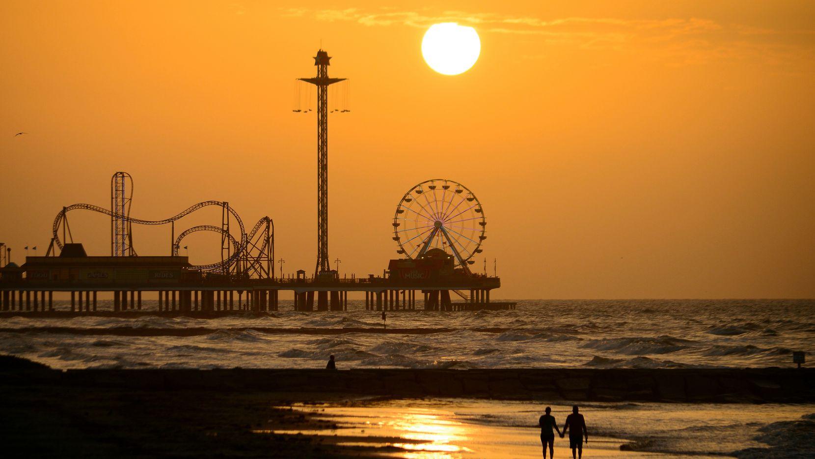 Galveston pier at sunset