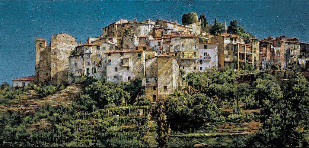 Clark Hulings, A Hilltop Town in Liguria, oil on Canvas, 17 x 36 , Italy, 1999