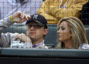 Johnny Manziel and Colleen Crowley attended a Texas Rangers game in 2015.