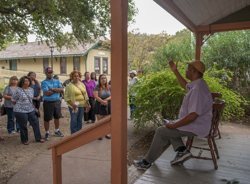 George Keaton Jr., founder and executive director of Remembering Black Dallas, right, gives a tour of a shotgun house at Dallas Heritage Village on Saturday, Oct. 7, 2017.  It was the first stop on a bus tour to areas that were once owned by former slaves and current and former African-American Communities of the North Dallas.  (Rex C. Curry/Special Contributor)