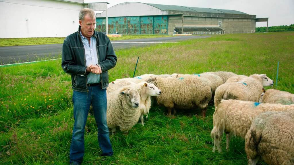 In conclusion, here's Clarkson at the show's track with some sheep.