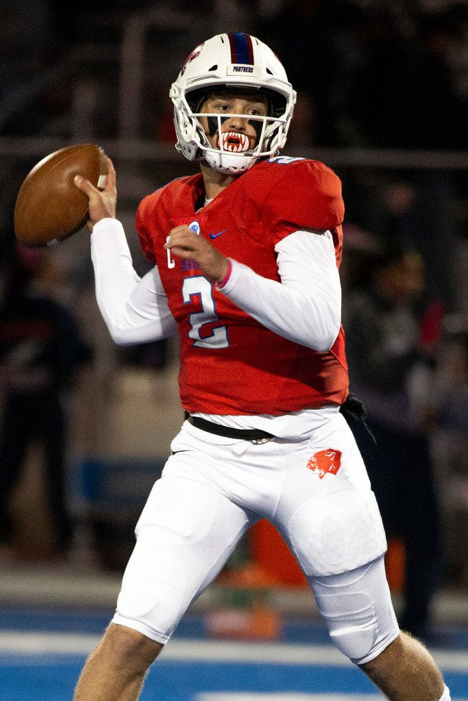 Parish Episcopal quarterback Preston Stone (2) makes a pass during the football game between Parish Episcopal High School and Bishop Dunne Catholic School at the Gloria H. Snyder Stadium in Farmers Branch, Texas, on Friday, Oct. 11, 2019. (Lynda M. Gonzalez/The Dallas Morning News)