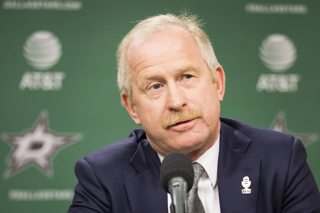 General Manager Jim Nill addresses the media as Ken Hitchcock is introduced as the Dallas Stars new coach during a press conference at the American Airlines Center on Thursday, April 13, 2017, in Dallas. (Smiley N. Pool/The Dallas Morning News)