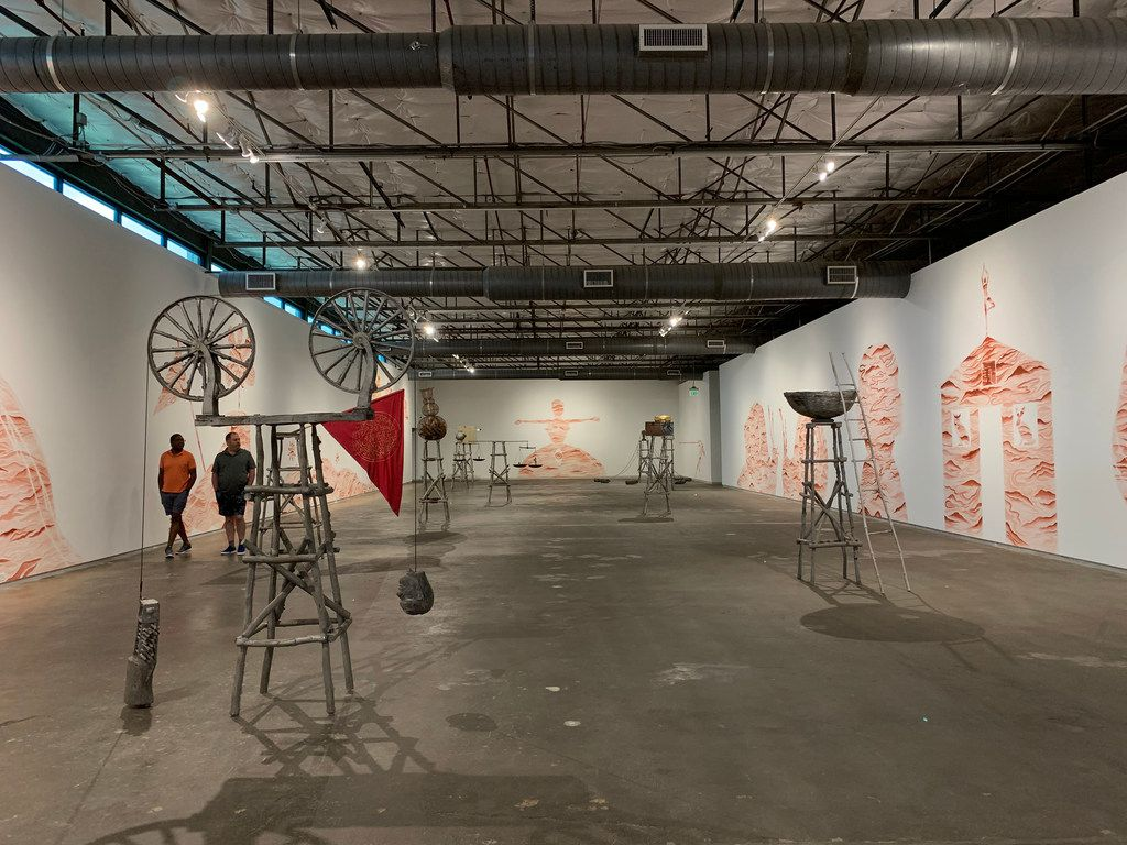 Installation interior at the exhibition Watchtowers, Keys, Threads, Gates at Dallas Contemporary