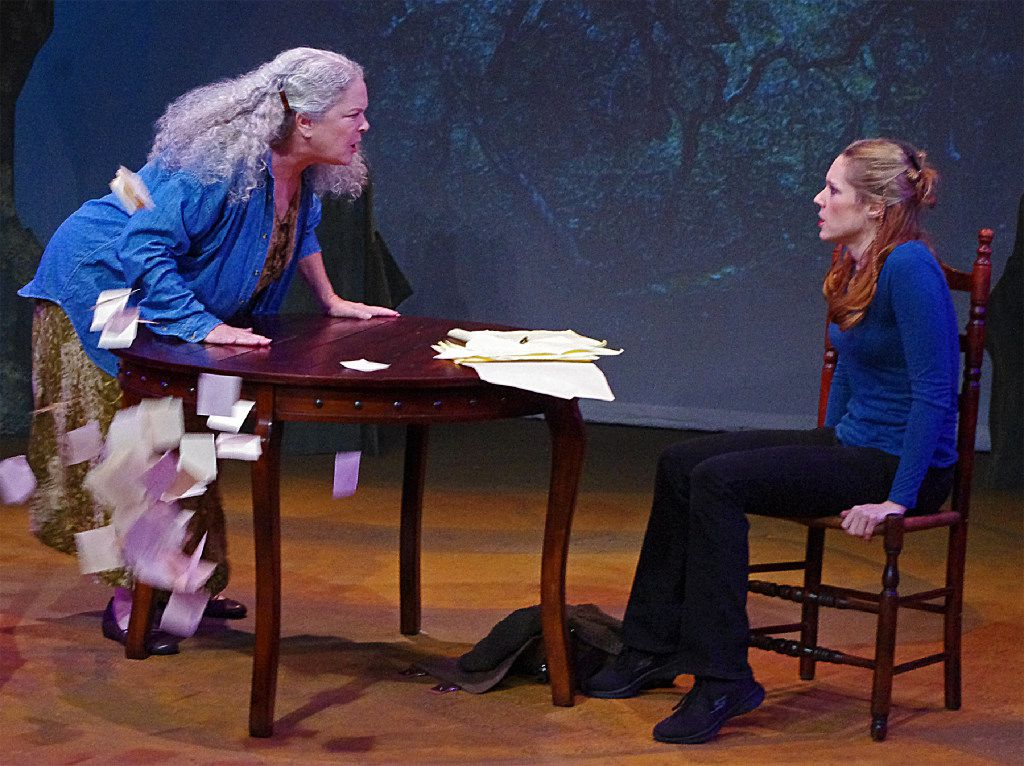 Stephanie Dunnam (left) plays Alida and Catherine D. DuBord plays Beth in Breadcrumbs by Jennifer Haley for WingSpan Theatre at Bath House Cultural Center.