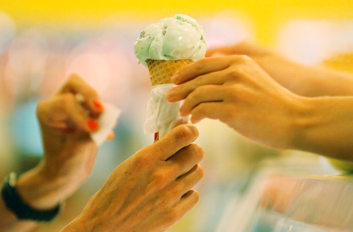 Ice cream comes courtesy of a partnership through Beth Marie's Old Fashioned Ice Cream. The menu isn't finalized yet. (Pictured here, a scoop of mint chocolate chip, photographed in 2010.)