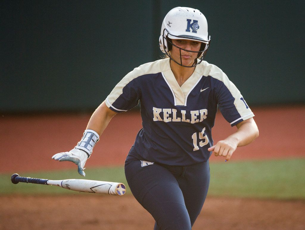 Keller's Tessa Galipeau (15) runs to first base during the second inning of a UIL Class 6A state semifinal softball game between Keller and Katy on Friday, May 31, 2019 at Red & Charline McCombs Field at the University of Texas in Austin. (Ashley Landis/The Dallas Morning News)