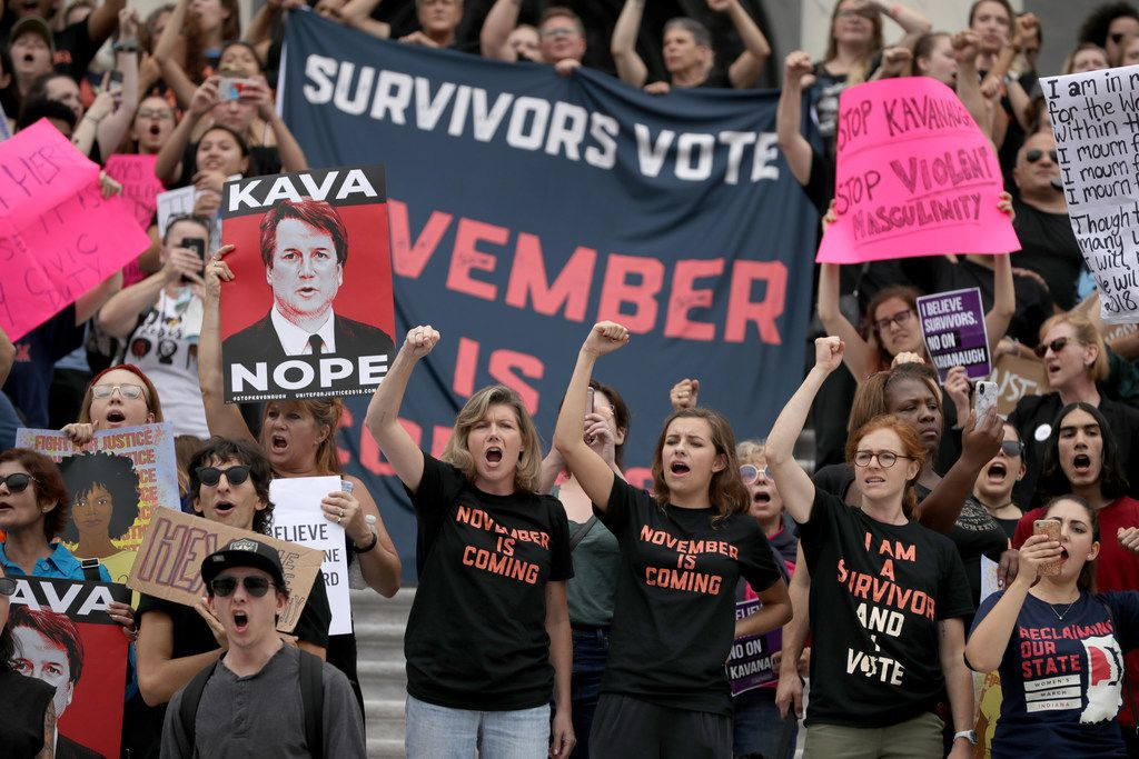 Hundreds of protesters occupy the center steps of the East Front of the U.S. Capitol after breaking through barricades to demonstrate against the confirmation of Supreme Court nominee Judge Brett Kavanaugh on Oct. 6, 2018 in Washington, D.C.
