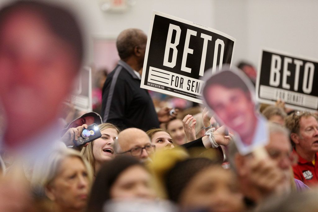Supporters cheer during a campaign rally for Democratic Senate candidate Beto O'Rourke at Liberty Missionary Baptist Church in Tyler, Texas on Thursday, Oct. 25, 2018.