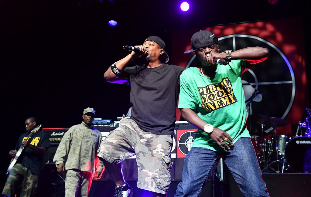 Flavor Flav, right, and Chuck D of Public Enemy at the O2 Arena in London on June 16