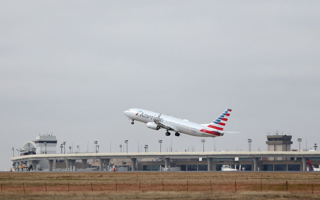 An American Airlines plane takes off at Dallas/Fort Worth International Airport on Tuesday, Feb. 26, 2019. (Rose Baca/Staff Photographer)