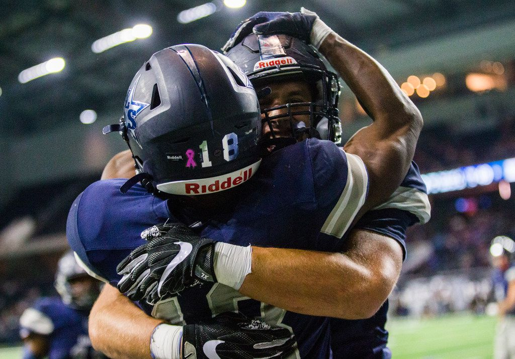 Frisco Lone Star wide receiver Marvin Mims (18) celebrates after running to the end zone during the fourth quarter of a District 5-5A Division I high school football game between Frisco Independence and Frisco Lone Star on Thursday, October 10, 2019 at the Ford Center at The Star in Frisco. The touchdown was overturned due to a penalty. (Ashley Landis/The Dallas Morning News)