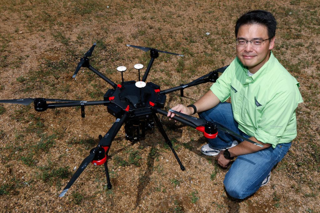 UT-Arlington researcher Nick Fang with a drone that will be used to collect information on the damage that Tropical Storm Harvey caused in southeast Texas.
