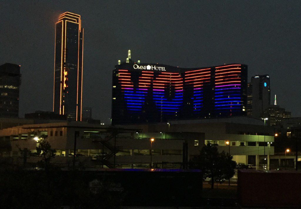 "The Omni Dallas Hotel displayed ""VOTE"" on its hotel early Tuesday morning in downtown Dallas. Today is Election Day in the United States.  (Irwin Thompson/Dallas Morning News)"