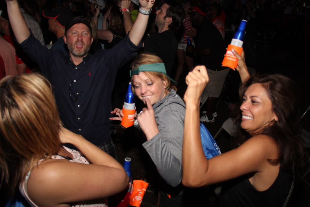 Groups of friends partied at the Le Freak concert after play was finished at the AT&T Byron Nelson on Saturday.