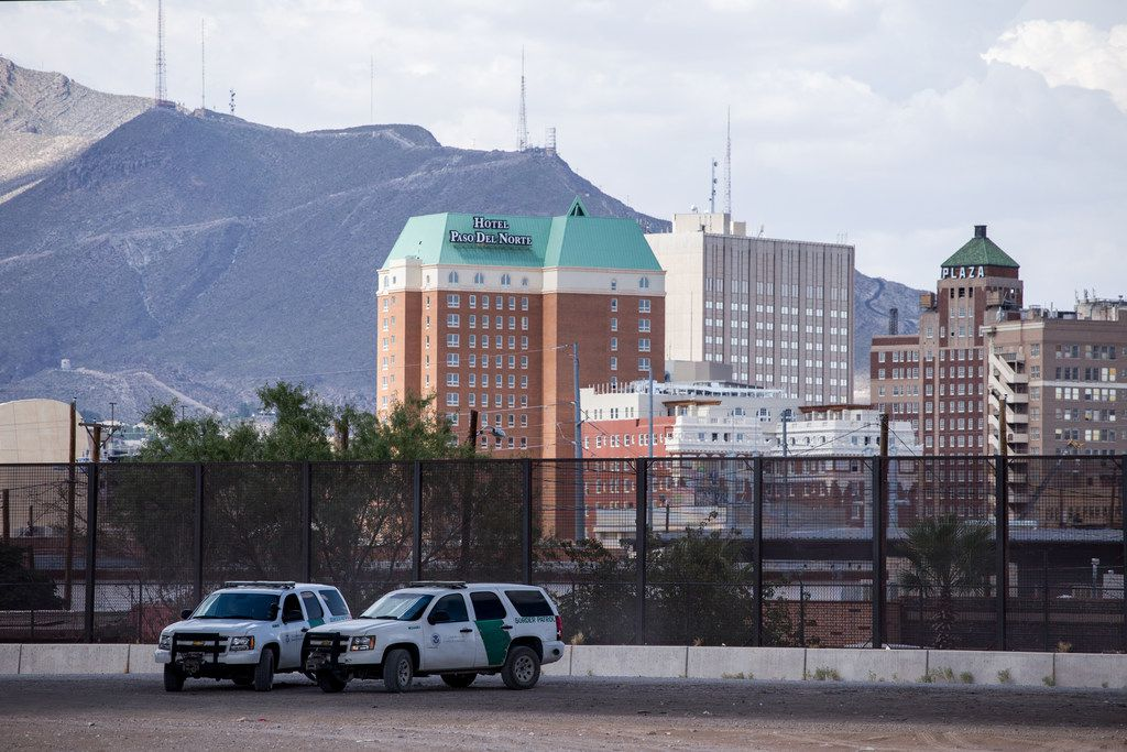 U.S. Border Patrol vehicles along the Rio Grande in El Paso across the border from Ciudad Juarez, Mexico on Thursday, Aug. 1, 2019.