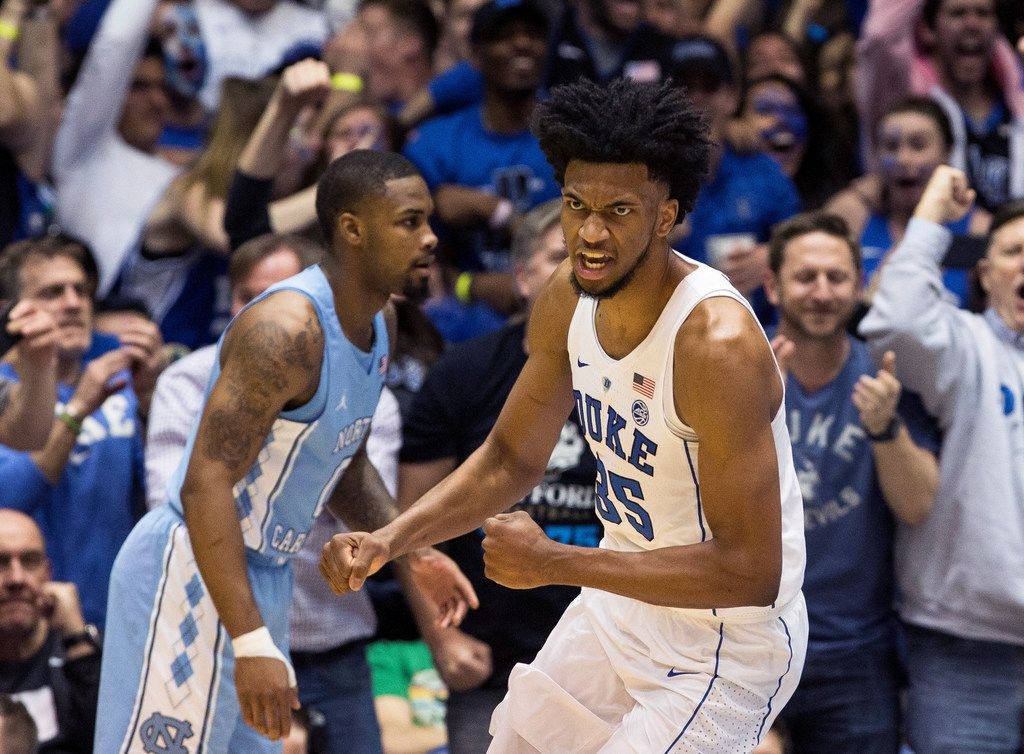 FILE - In this March 3, 2018, file photo, Duke's Marvin Bagley III (35) celebrates after a dunk during the second half of an NCAA college basketball game against North Carolina in Durham, N.C. Bagley III is a member of the Associated Press NCAA college basketball All-America first team, announced Tuesday, March 27, 2018. (AP Photo/Ben McKeown, File)