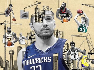 Individual facets of Luka Doncic's game, pulled together, make him an amalgamation of many NBA greats, past and present. (Photo by Ronald Martinez, Getty Images; Illustration by Michael Hogue, Staff Artist)