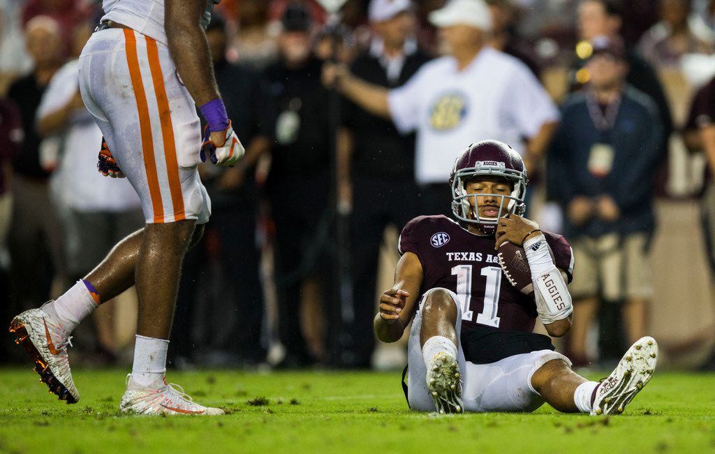 Texas A&M Aggies quarterback Kellen Mond (11) reacts to being sacked during the second quarter of a college football game between the Clemson Tigers and the Texas A&M Aggies on Saturday, September 8, 2018 at Kyle Field in College Station, Texas. (Ashley Landis/The Dallas Morning News)