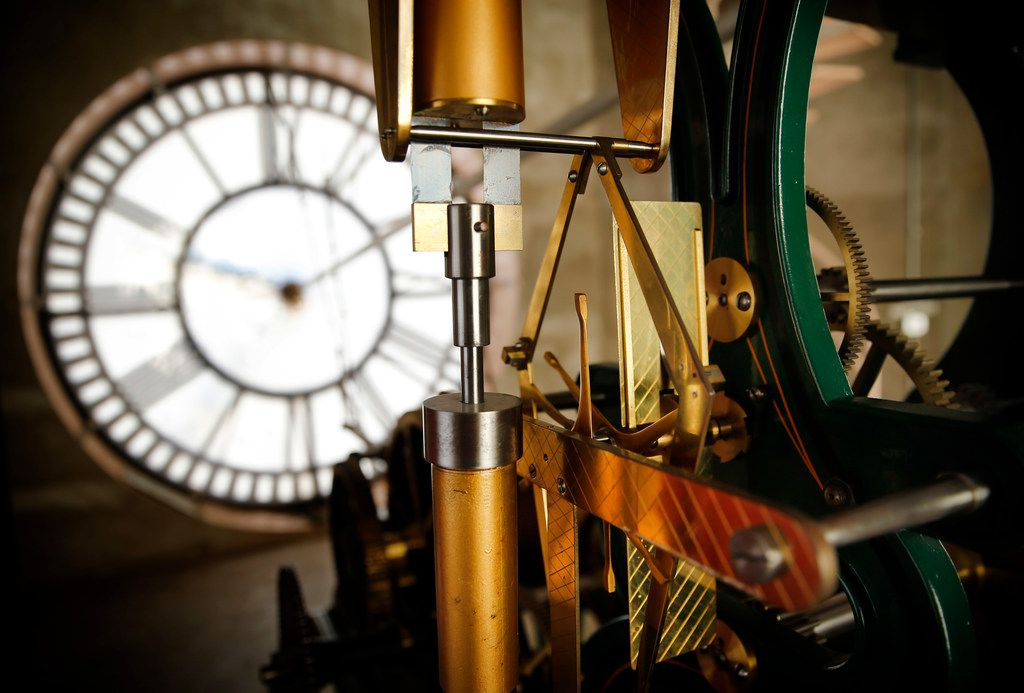 The timing mechanism on the E. Howard & Co.tower clock in the old, red Dallas County Courthouse, now known as Old Red Museum, in downtown Dallas, Saturday, March 9, 2019. Daylights savings time begins early Sunday morning.