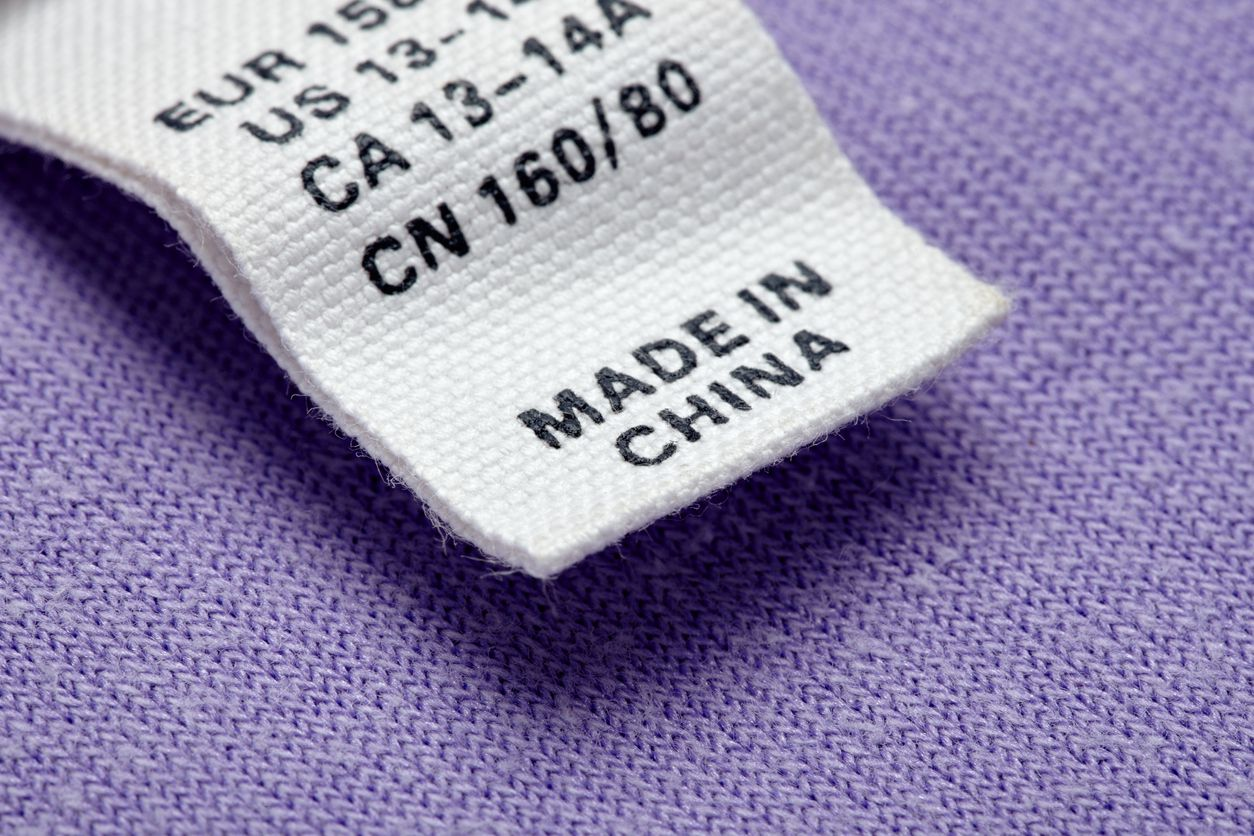 close up clothing label made in china