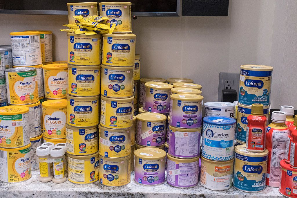 Baby formula lines the shelf in the Cambria Gallery during Feeding Every Baby Formula Shelf's monthly distribution event in Mankato, Minn.