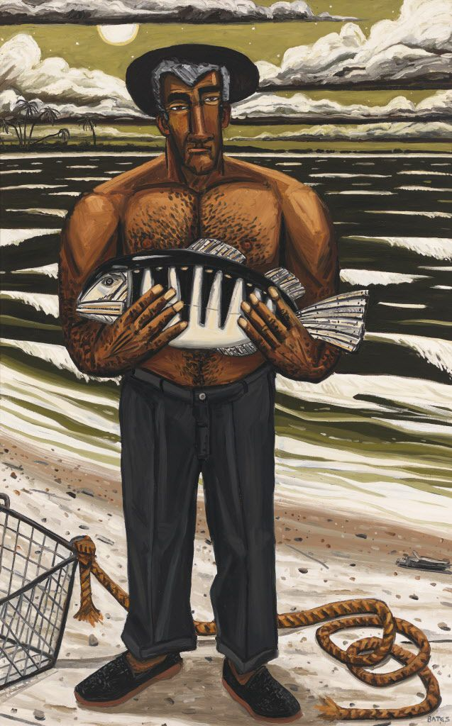 David Bates ( b. 1952).  Night Fishing, 1987.  Oil on canvas, 96 1/16   60 1/8in. (244   152.7 cm)  Whitney Museum of American Art, New York; gift of Laila and Thurston Twigg Smith  90.33  Courtesy of the artist and Arthur Roger Gallery Bates, David