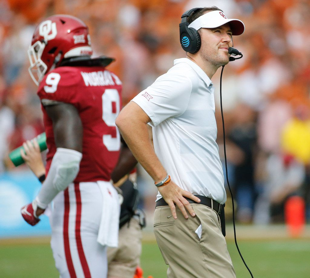 Sooners coach Lincoln Riley is pictured on the sideline during the University of Texas Longhorns vs. the Oklahoma Sooners NCAA football game at the Cotton Bowl in Dallas on Saturday, October 6, 2018. (Louis DeLuca/The Dallas Morning News)