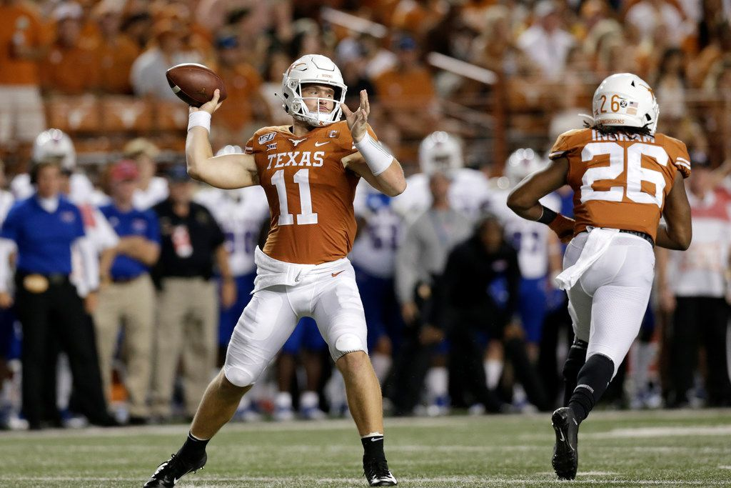 AUSTIN, TX - AUGUST 31:  Sam Ehlinger #11 of the Texas Longhorns throws a pass in the third quarter against the Louisiana Tech Bulldogs at Darrell K Royal-Texas Memorial Stadium on August 31, 2019 in Austin, Texas.  (Photo by Tim Warner/Getty Images)