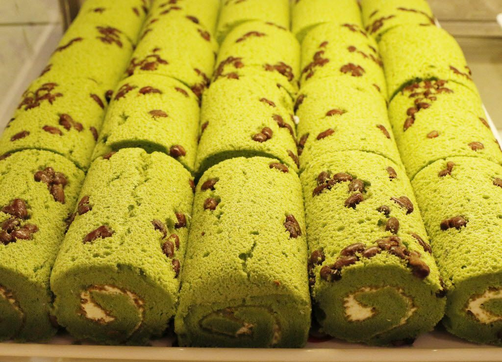 Matcha Red Bean Roll is one of many types of rolls 85C Bakery Cafe offers to their customers. The Taiwanese bakery chain opened its first Texas location in Carrollton, on Friday August 19, 2016. The store offers 60 types of breads, varying from Asian to European styles; plus, over 40 types of cakes. (David Woo/The Dallas Morning News)