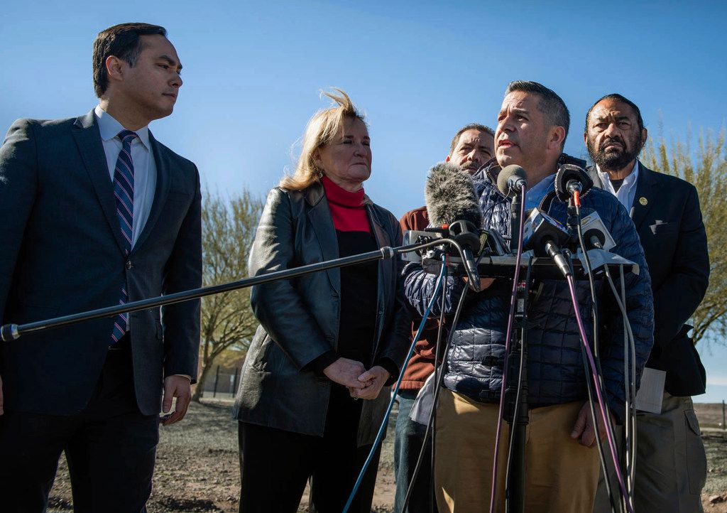 """New Mexico Rep. Ben Ray Lujan, second right, speaks before the media after a facility tour at the Border Patrol Station in Lordsburg, N.M., Tuesday, Dec. 18, 2018. Jakelin Caal, 7, and her father were found Dec. 6 along with more than 160 others in a desolate New Mexico region, some 90 miles away from the Border Patrol facility where they were taken into custody. Caal later died. From left are Texas Reps. Joaquin Castro, Sylvia Garcia, Jesus """"Chuy"""" Garcia and Al Green. (Roberto E. Rosales/The Albuquerque Journal via AP)"""