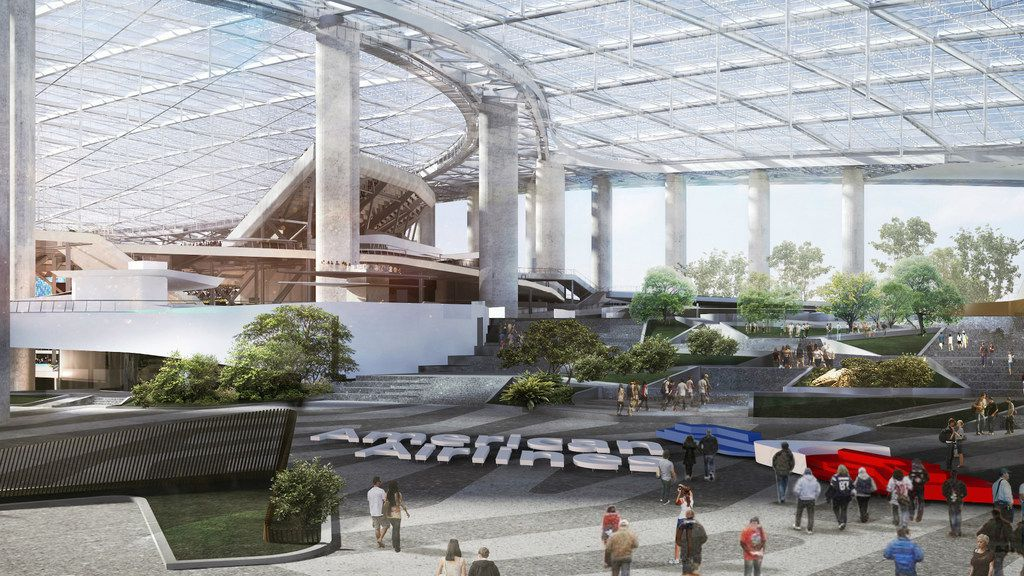 Rendering of the American Airlines Plaza at the upcoming LA Stadium and Entertainment District at Hollywood Park. The stadium, set for completion in 2020, will be home to the NFL's Los Angeles Chargers and Los Angeles Rams.
