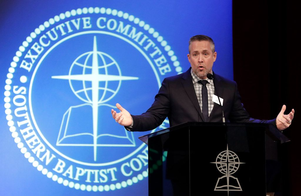 Southern Baptist Convention President J.D. Greear speaks to the denomination's executive committee Monday in Nashville, Tenn. Just days after a newspaper investigation revealed hundreds of sexual abuse cases by Southern Baptist ministers and lay leaders over the past two decades, Greear spoke about plans to address the problem.