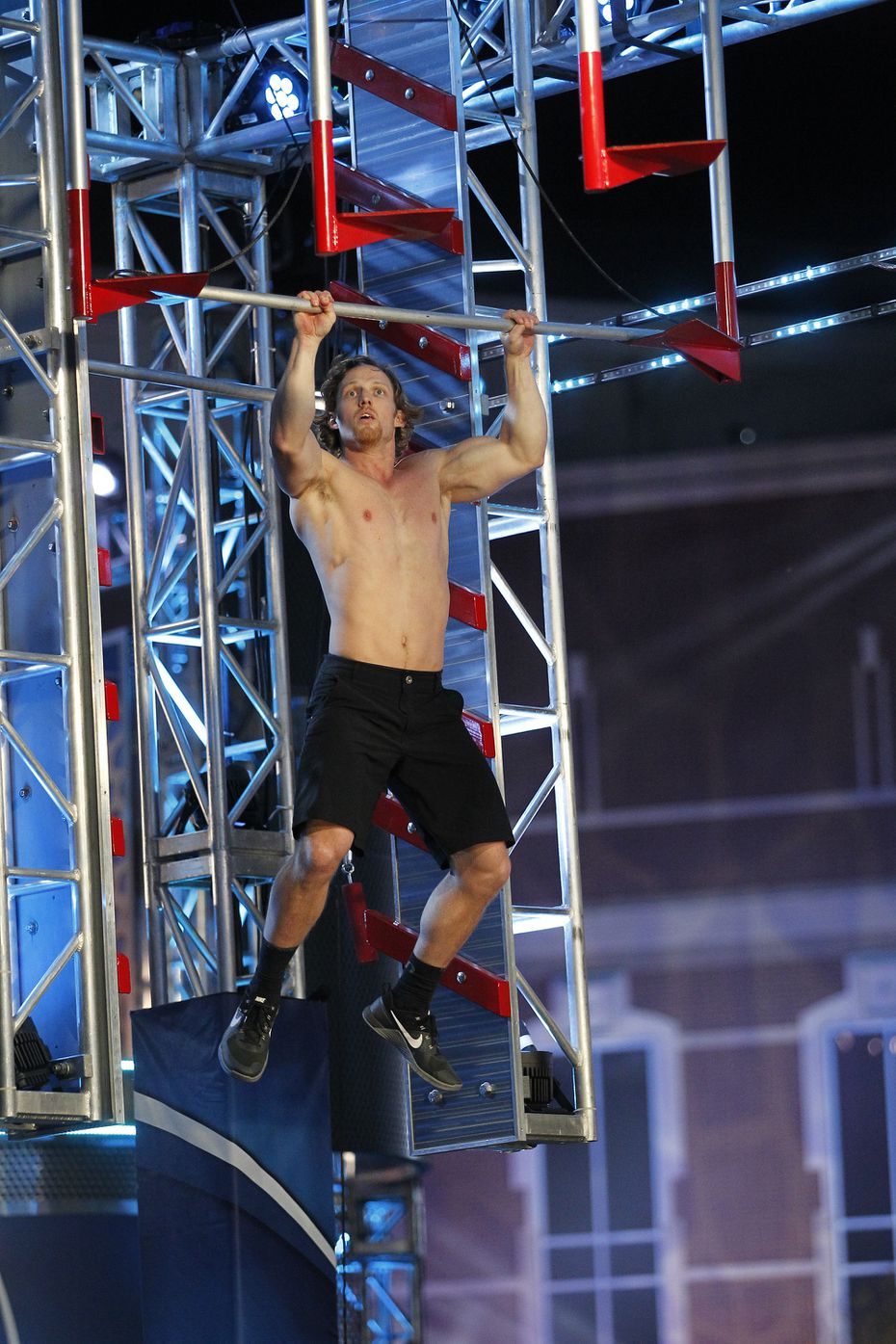 "Kevin Klein tackled the salmon ladder obstacle at the Houston finals of ""American Ninja Warrior."""
