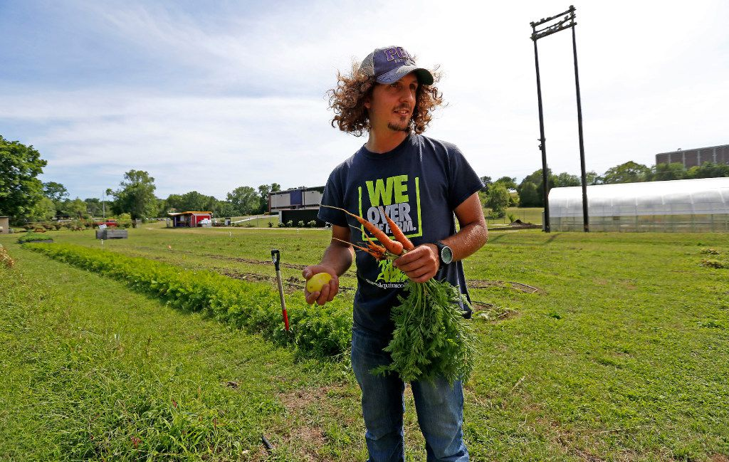 James Hunter works in the the We Over Me farm at Paul Quinn College in Dallas.