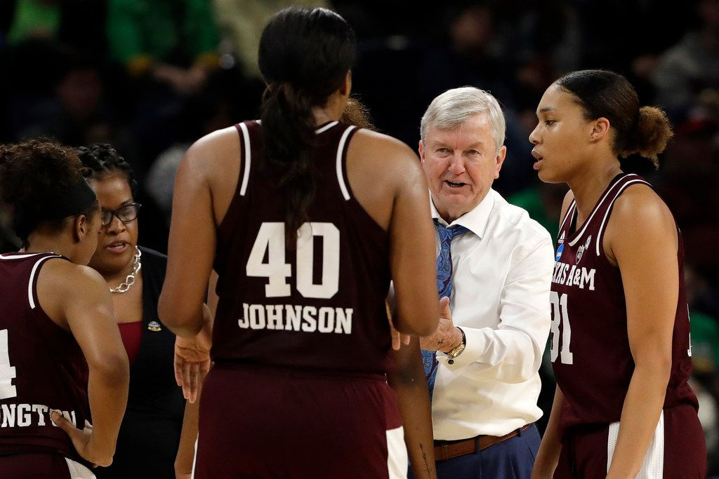 Texas A&M head coach Gary Blair talks to his players during the second half of a regional semifinal game against the Notre Dame in the NCAA women's college basketball tournament, Saturday, March 30, 2019, in Chicago. (AP Photo/Nam Y. Huh)