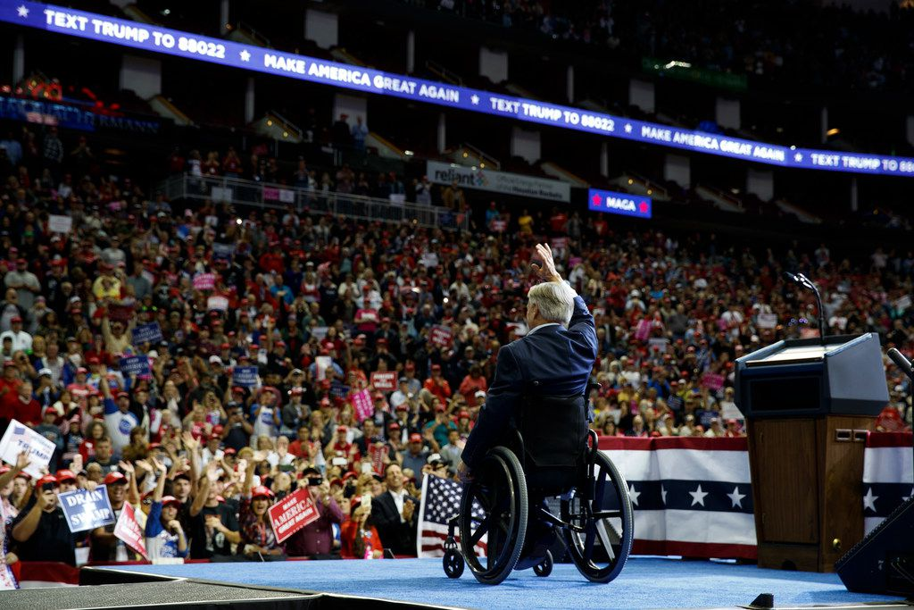 Texas Gov. Greg Abbott speaks during a campaign rally with President Donald Trump at the Houston Toyota Center, Monday, Oct. 22, 2018, in Houston.