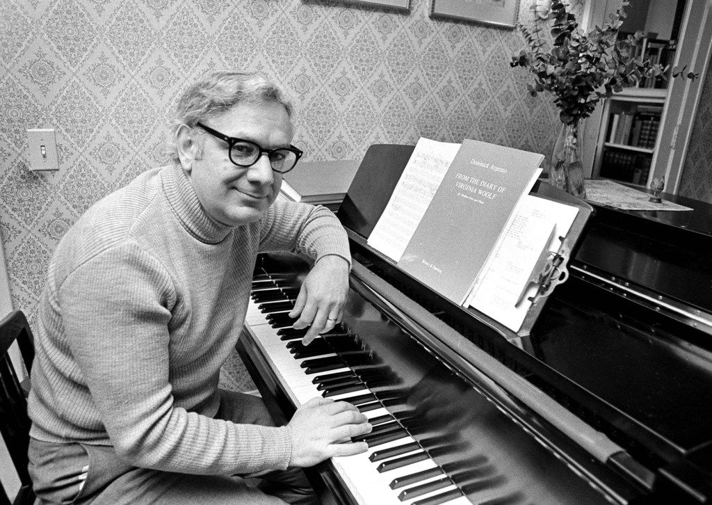 This May 5, 1975, photo shows Dominick Argento at his piano in his Minneapolis home after learning he had been awarded the Pulitzer Prize for music. Argento died Feb. 20, 2019, in Minneapolis. He was 91.