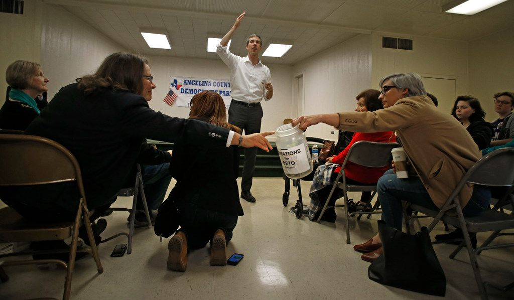 People pass around a donation bucket as U.S. Congressman Beto O'Rourke gives a speech at Brandon Community Center in Lufkin, Texas on Feb. 9, 2018. O'Rourke is running for the U.S. Senate. (Nathan Hunsinger/The Dallas Morning News)