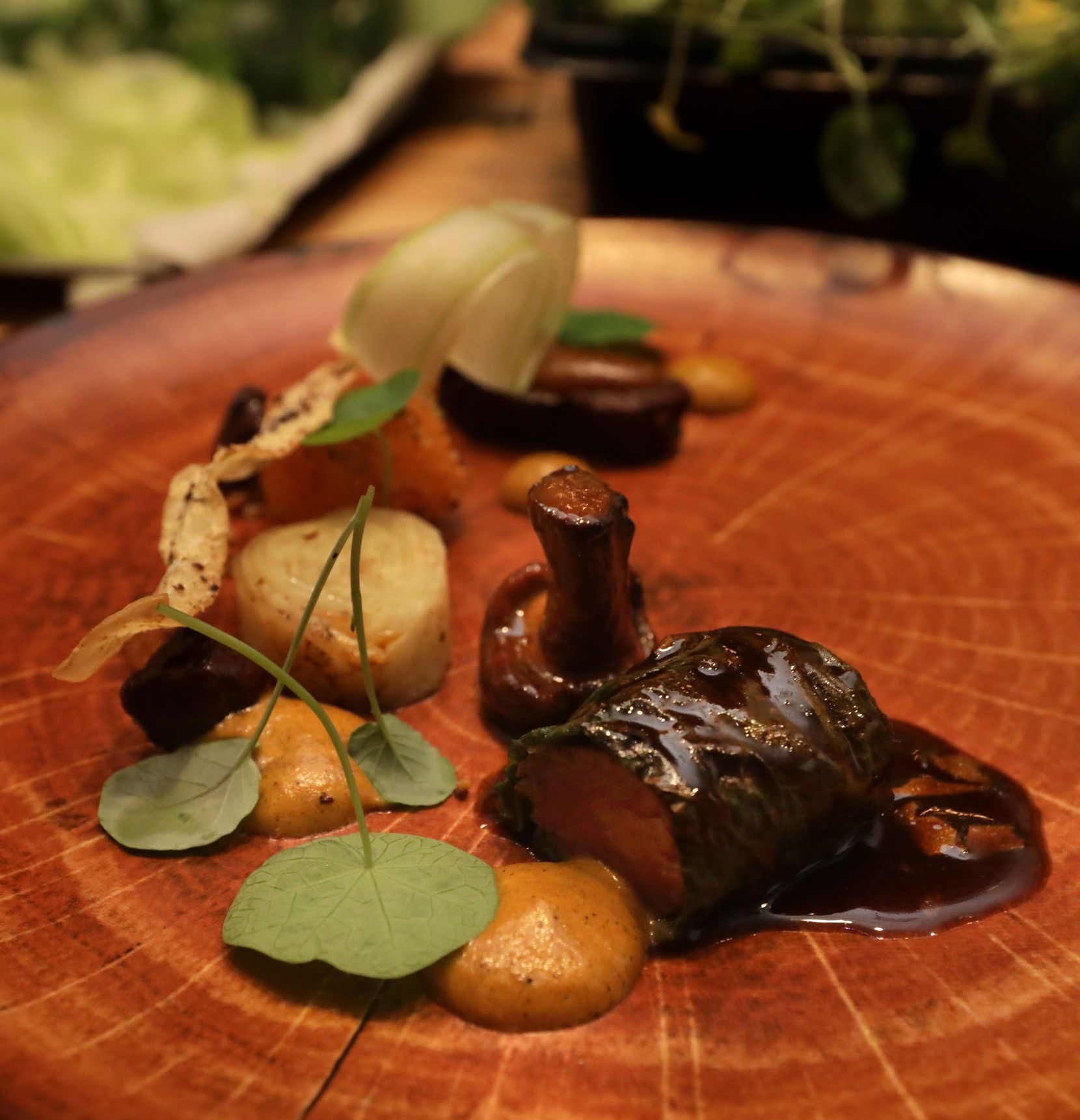 Lamb loin and belly with hoja santa, mole de calabaza and chicatanas (flying ants)