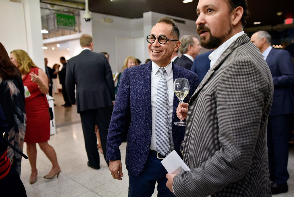 Agustín Arteaga (left), Eugene McDermott Director for the Dallas Museum of Art, greets Carlos Gonzalez-Jaime during the Preview Gala of the ninth annual Dallas Art Fair. (Ben Torres/Special Contributor)