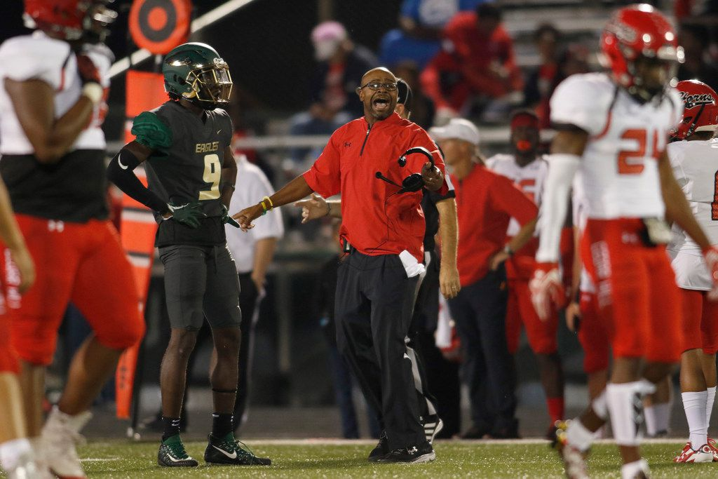Cedar Hill head coach Carlos Lynn yells to get the attention of the referee following a second quarter play against DeSoto. The two teams played their District 7-6A football game at Eagle Stadium in DeSoto on September 29, 2017. (Steve Hamm/Special Contributor)
